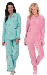 Models wearing Doggy Dreams Boyfriend Pajamas and Hoodie-Footie - Pink.