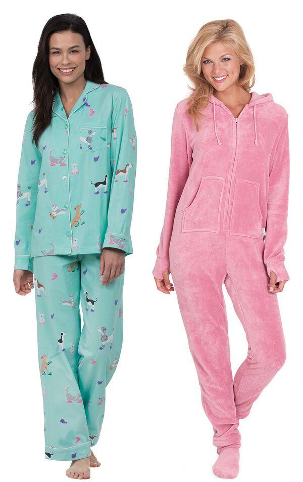 Models wearing Doggy Dreams Boyfriend Pajamas and Hoodie-Footie - Pink. image number 0