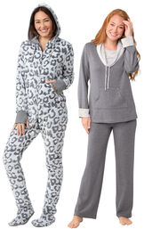 Models wearing Hoodie-Footie - Snow Leopard and World's Softest Pajamas - Charcoal.