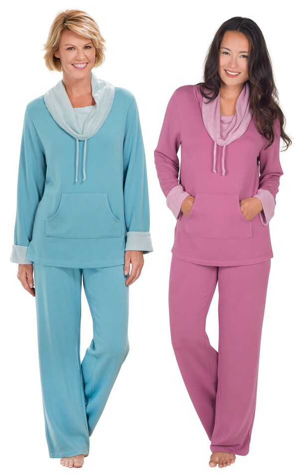 Models wearing World's Softest Pajamas - Teal and World's Softest Pajamas - Raspberry. image number 0