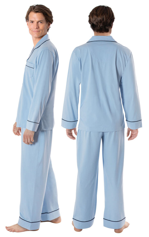 Model wearing Light Blue Button-Front PJ for Men, facing away from the camera and then to the side image number 1