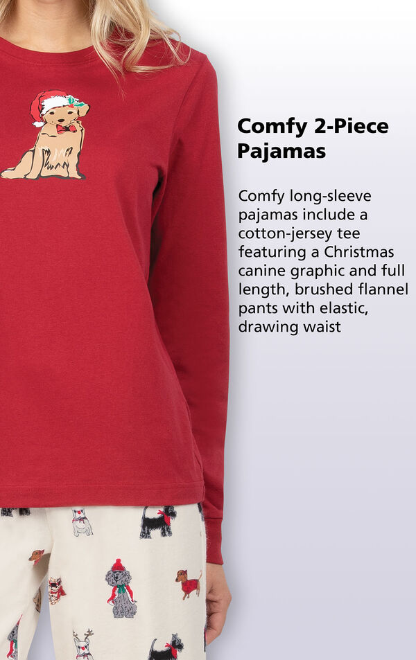 Comfy long-sleeve pajamas include a cotton-jersey top feature a Christmas canine graphic and full-length brushed flannel pants with an elastic, drawstring waist image number 3