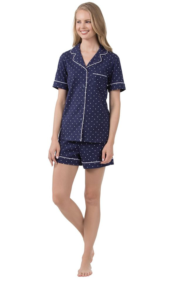 Model wearing Navy Blue and White Polka Dot Short Set for Women image number 0