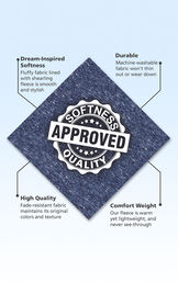 Dark Blue Shearling swatch with the following copy: Fluffy fabric lined with shearling fleece is smooth and stylish. Machine-washable fabric won't thin out. Fade-resistant fabric maintains it's original colors and texture. Warm yet lightweight. image number 5