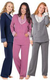 Models wearing World's Softest Pajamas - Navy, World's Softest Pajamas - Raspberry and World's Softest Pajamas - Charcoal.