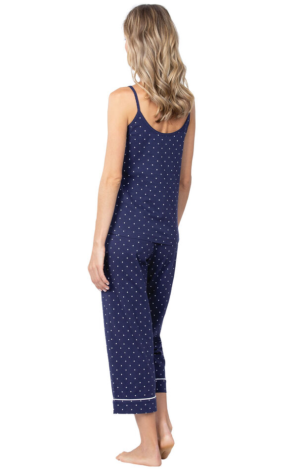 Model wearing Navy and White Polka Dot Cami PJ for Women, facing away from the camera image number 1