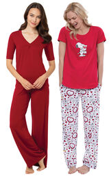 Red Naturally Nude PJs and Snoopy's Valentine PJs image number 0