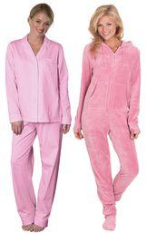 Models wearing Classic Polka-Dot Boyfriend Pajamas - Pink and Hoodie-Footie - Pink.