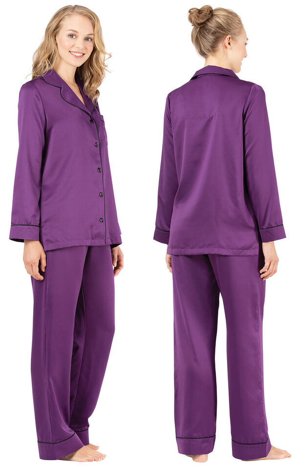 Model wearing Purple Satin Button-Front PJ with Contrast Piping for Women, facing away from the camera and then to the side image number 1