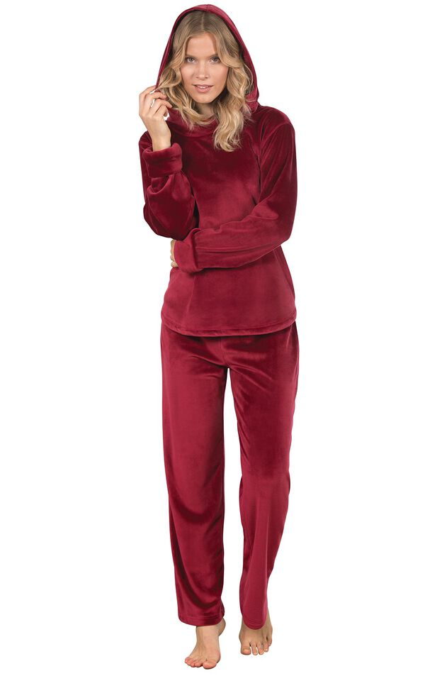 Model wearing Deep Red Tempting Touch PJs with the Hood up image number 1