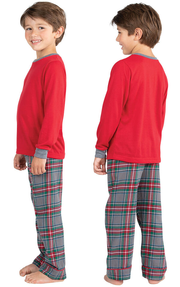Model wearing Gray Plaid PJ for Kids, facing away from the camera and then facing to the side image number 1