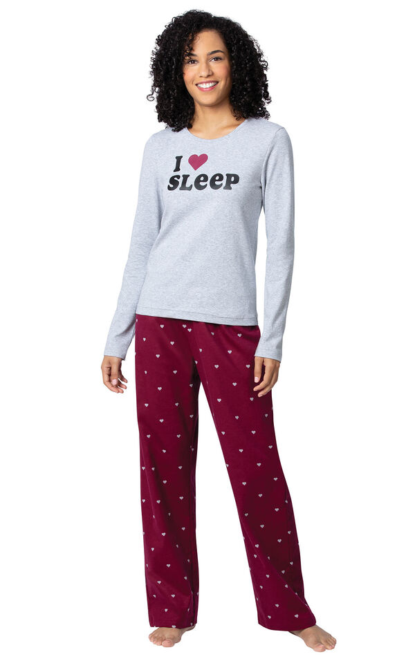 Model wearing Deep Red Hearts PJ for Women image number 0
