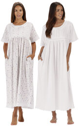 Models wearing Helena Nightgown - Lilac Rose and Helena Nightgown - White image number 0