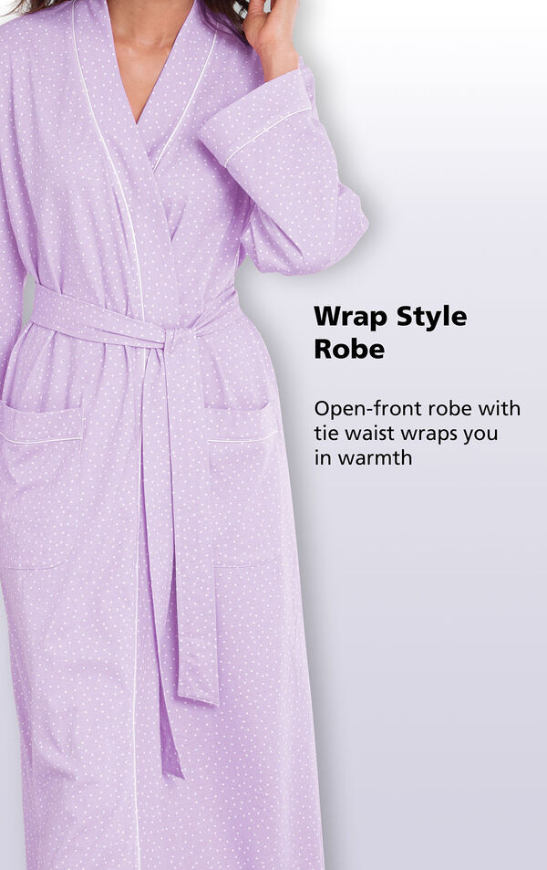 Close-up of Purple Pin Dot Wrap Style Robe; open-front robe with tie waist wraps you in warmth. image number 1
