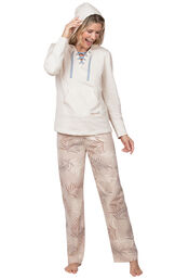 Model wearing Margaritaville Cool Nights Hoodie Pajamas - Sand with the hood up, facing to the side image number 2