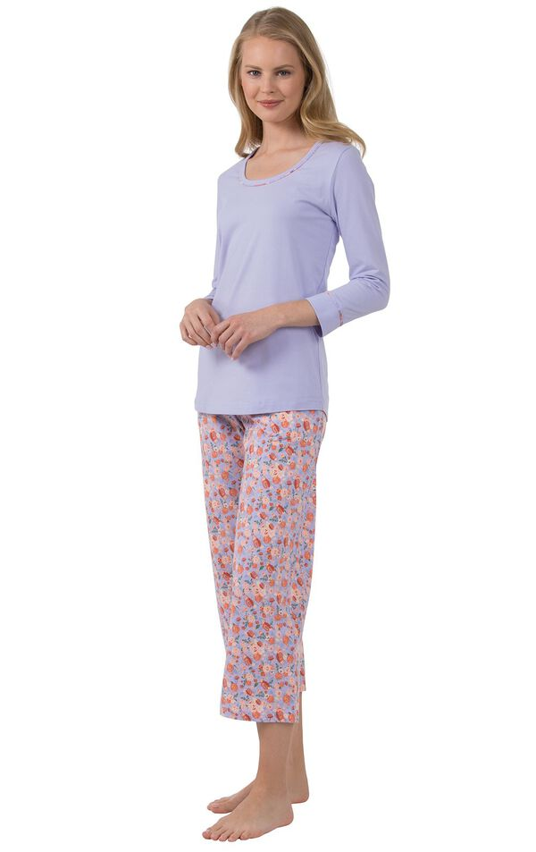 Model wearing Light Purple Floral Print PJ for Women, facing to the side image number 2