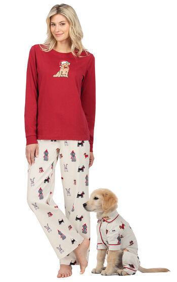 Christmas Dogs Print Flannel TJs for Pet & Owner