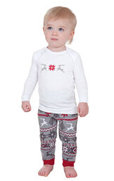 Model wearing Red and Gray Fair Isle PJ for Infants