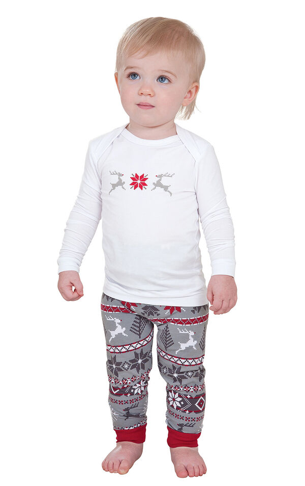 Model wearing Red and Gray Fair Isle PJ for Infants image number 0