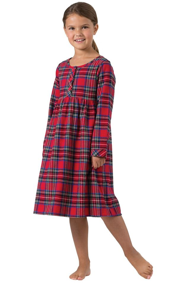 Model wearing Red Classic Plaid Gown for Girls image number 0