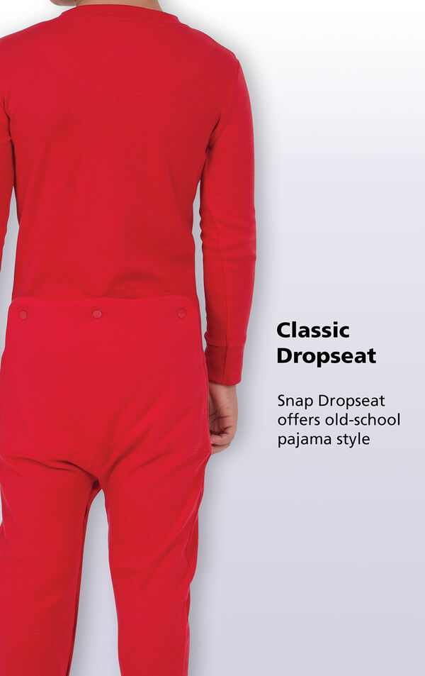 Close up of Red Dropseat PJ's Classic Dropseat. Snap Dropseat offers old-school pajama style. image number 3