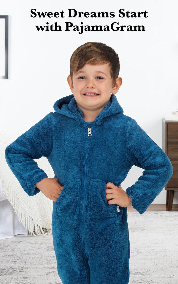 Boy wearing Blue Hoodie-Footie Onesie with the following Copy: Sweet Dreams Start with PajamaGram. image number 1
