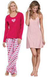 Be Mine PJs and Pink Naturally Nude Chemise image number 0