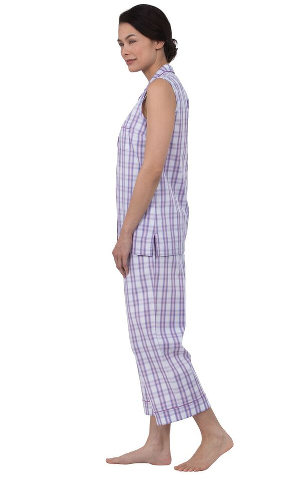 Model wearing Purple and White Perfectly Plaid Sleeveless Capri Pajamas, facing to the side image number 1