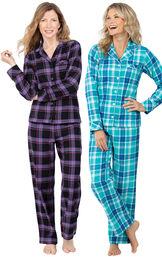 Models wearing Blackberry Plaid Boyfriend Flannel Pajamas and Wintergreen Plaid Boyfriend Flannel Pajamas. image number 0