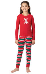 Model wearing Red and Green Christmas Stripe PJ - Kids