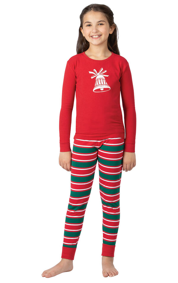 Model wearing Red and Green Christmas Stripe PJ - Kids image number 0