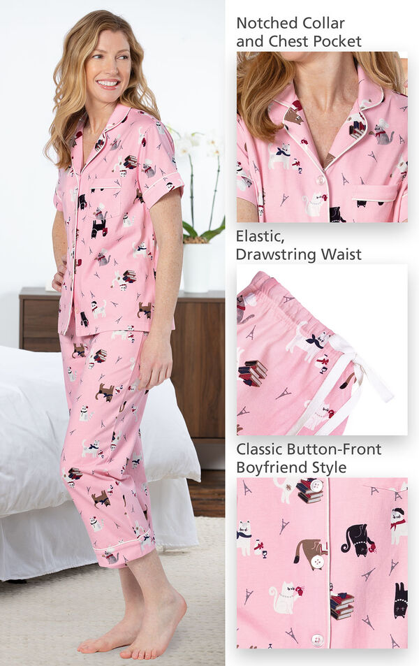 Model wearing Pink Kitty Print Short Sleeve Button-Front Capri PJ for Women image number 3