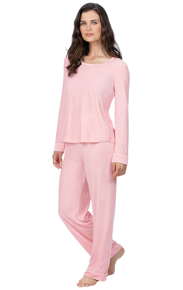 Model wearing Pink Velour PJ with Satin Trim for Women image number 0