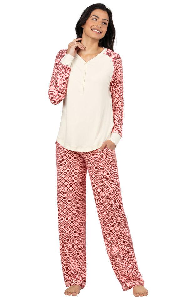 Model wearing Whisper Knit Henley Pajamas - Red Print image number 0