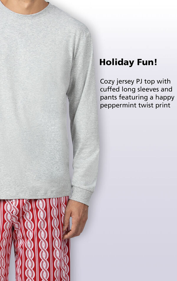 Cozy jersey PJ top with cuffed long sleeves and pants featuring a happy peppermint twist print image number 2
