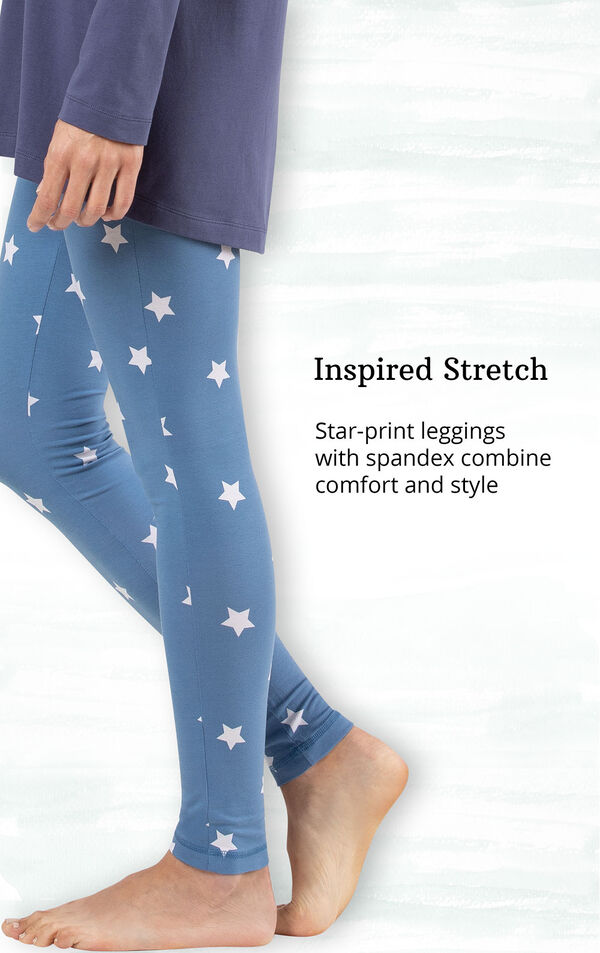 Inspired Stretch - blue gingham leggings with spandex combine comfort and style image number 4