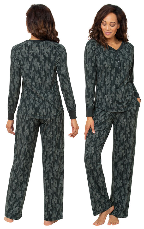 Model wearing Whisper Knit Henley Pajamas - Green Forest, facing away from the camera and then to the side image number 1