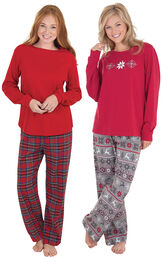 Models wearing Nordic Pajamas and Stewart Plaid Thermal-Top Pajamas.