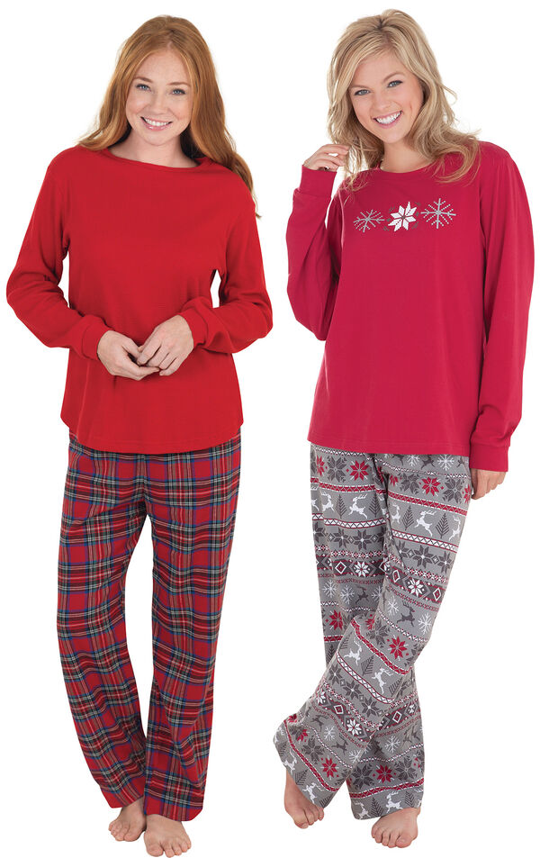 Models wearing Nordic Pajamas and Stewart Plaid Thermal-Top Pajamas. image number 0