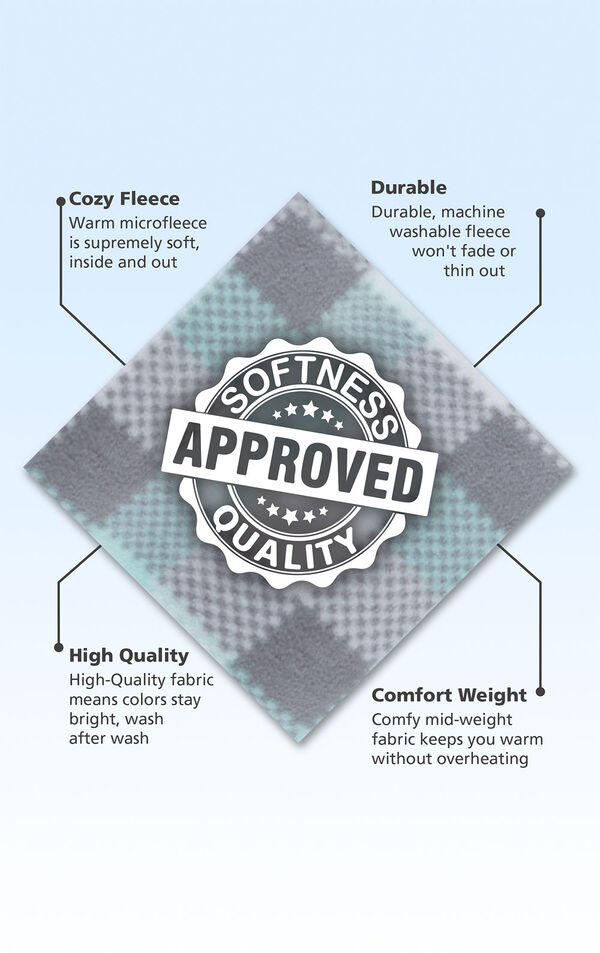 Aqua and Gray plaid fleece fabric swatch with the following copy: Warm microfleece is supremely soft. Machine washable fleece won't fade. High-quality fabric means colors stay bright. Mid-weight fabric keeps you warm. image number 5