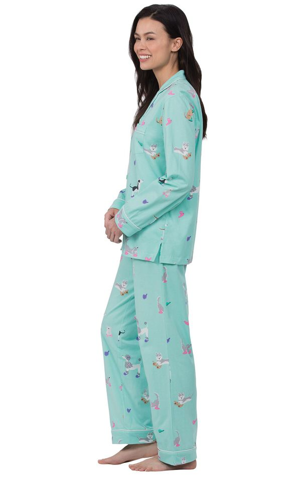 Model wearing Light Blue Dog Print Button-Front PJ for Women, facing to the side image number 2