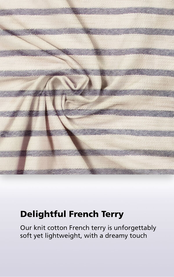 Seeing Stripes fabric with the following copy: Delightful French Terry - Our knit cotton French terry is unforgettably soft yet lightweight, with a dreamy touch image number 4