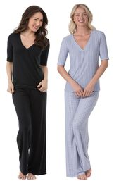 Models wearing Naturally Nude Pajamas - Solid Black and Naturally Nude Pajamas - Blue.