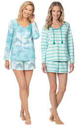 Models wearing Margaritaville Rest and Relaxation Short Set - Blue Ombre and Margaritaville Rest and Relaxation Short Set - Blue.