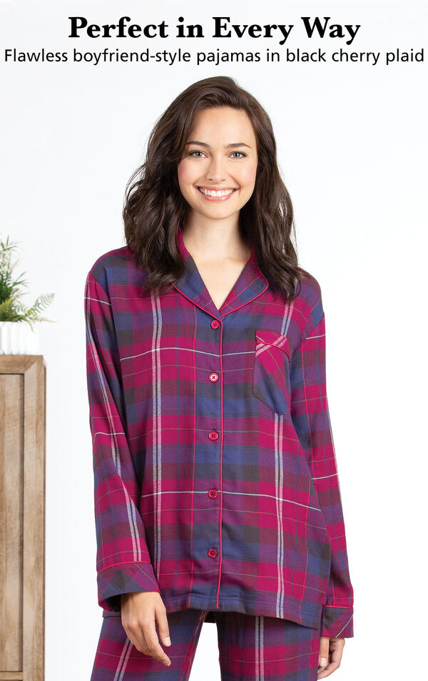 Perfect 10 Boyfriend Pajamas - Black Cherry Plaid with the following copy: Perfect in Every Way. Flawless boyfriend-style pajamas in black cherry plaid. image number 3