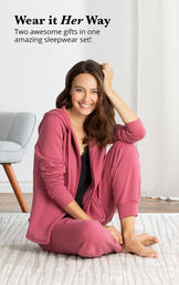 Pink and Black Sexy and Sweet Pajama Set - two awesome gifts in one amazing sleepwear set image number 2