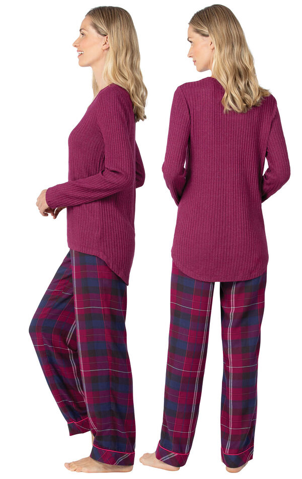 Model wearing Pink Plaid PJ for Women, facing away from the camera and then to the side image number 1