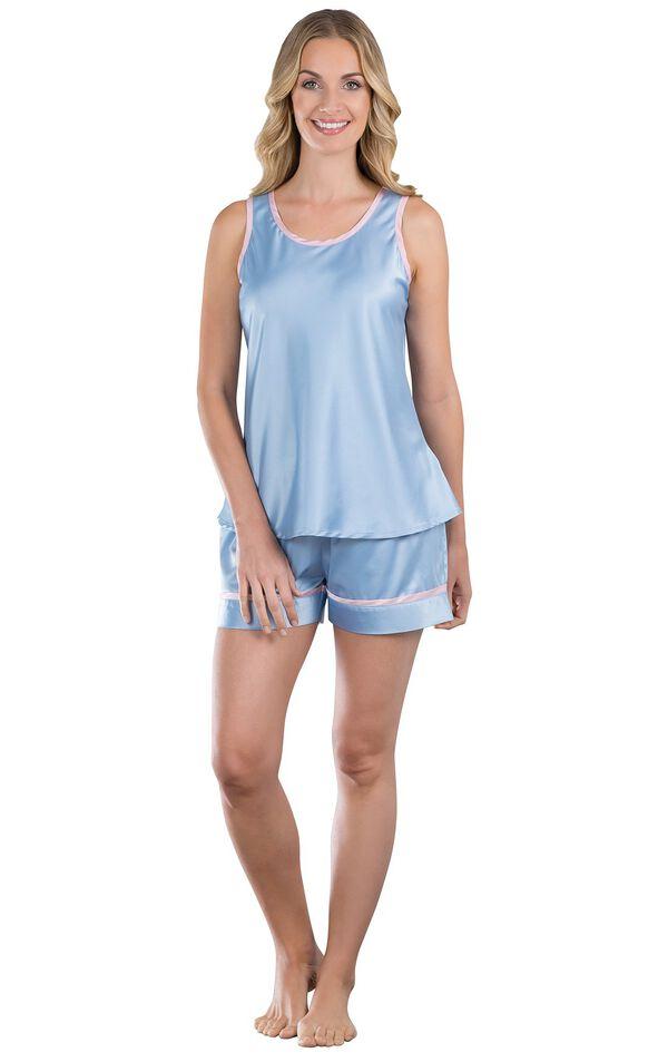 Model wearing Light Blue Satin Short Set with Pink Trim for Women image number 0