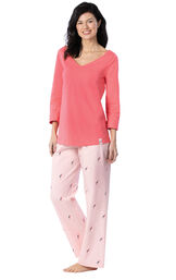 Model wearing Pink Margaritaville Tie-back PJ for Women image number 0