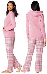 Glitzy Pink Plaid Hooded Pajamas image number 1